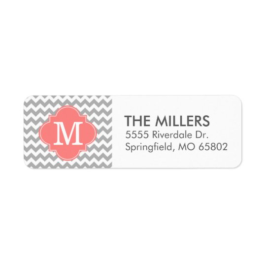 Grey and Coral Modern Chevron Custom Monogram Return Address Label