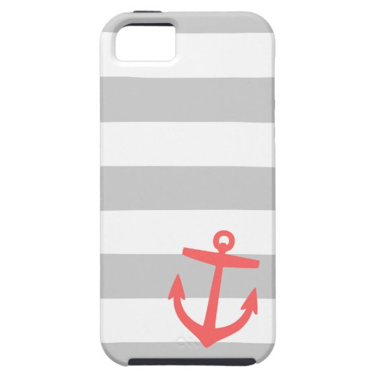 Grey and Coral Nautical Stripes and Cute Anchor Case For The iPhone 5