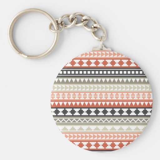 Grey and Coral Tribal Aztec Pattern Key Chain