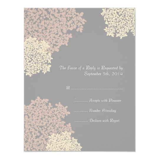 Grey and Cream Queen Anne's Lace Wedding RSVP Card