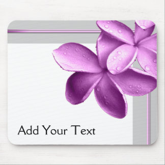 Grey and Eggplant Plumeria Mouse Pad