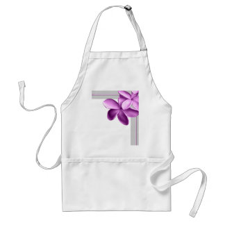 Grey and Eggplant Plumeria Standard Apron