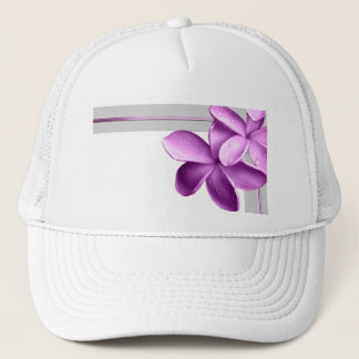 Grey and Eggplant Plumeria Trucker Hat