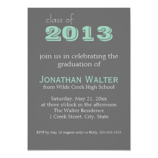 Grey and Emerald | Text |  Graduation Invitation