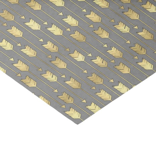 Grey and Faux Gold Arrows Pattern Tissue Paper