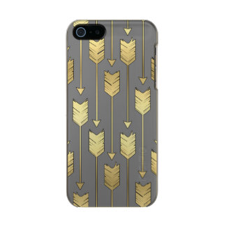 Grey and Gold Boho Arrow Pattern Incipio Feather® Shine iPhone 5 Case