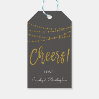 Grey and Gold Foil Cheers Gift Tag