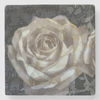 Grey and gold rose Marble Stone Coaster