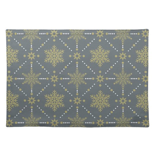 Grey and Gold Snowflakes Christmas Pattern Placemat