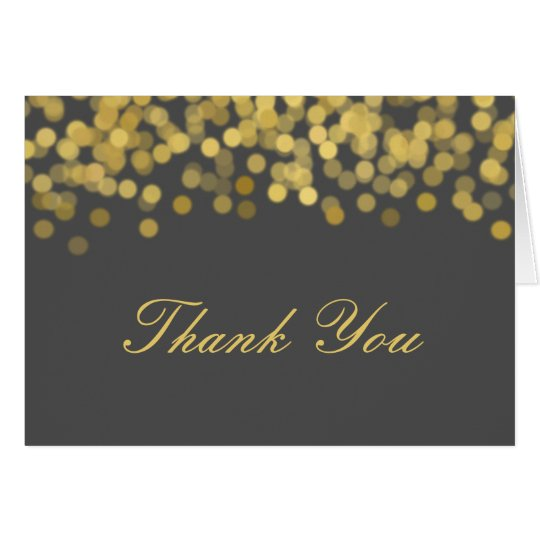 Grey and Gold Twinkle Modern Thank You Card