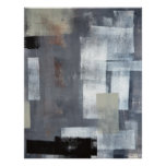 Grey and Green Abstract Art Poster Print