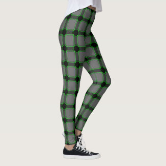 Grey and Green Abstract Square Leggins Leggings