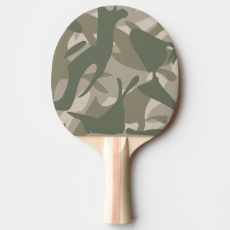 Grey and Green Camouflage Ping Pong Paddle