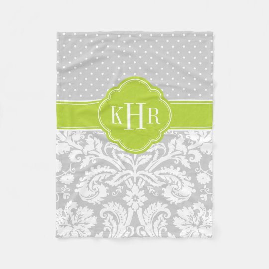 Grey and Green Damask Polka Dots Monogram Fleece