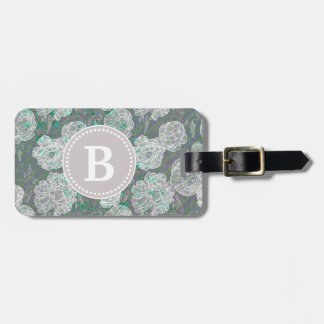 Grey and Green Floral Striped Monogram Luggage Tag