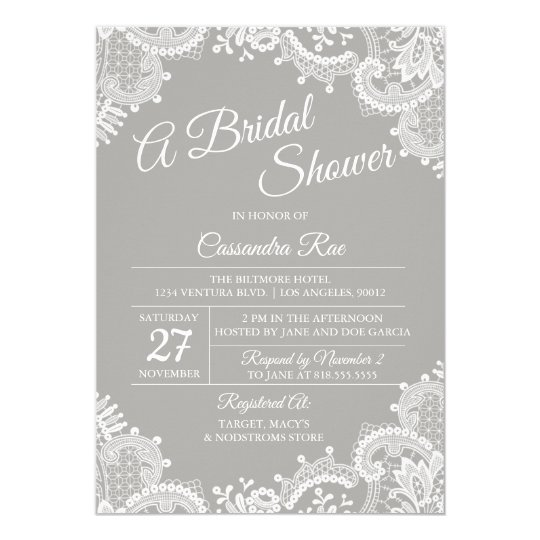 Grey and Lace Bridal Shower Invitation