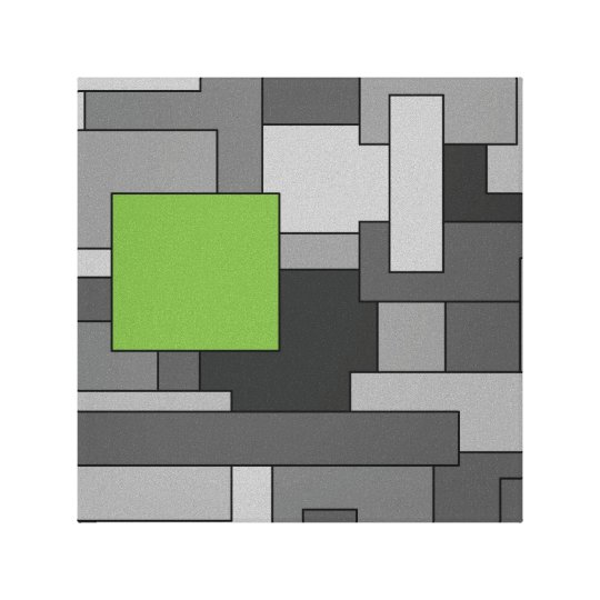 Grey and Light Green Geometric Abstract Art Canvas