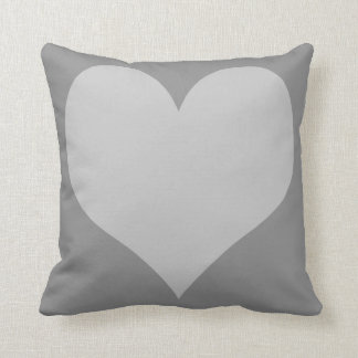 Grey and Light Grey Hearts Throw Pillow