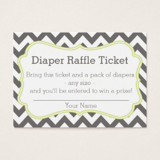 Grey and Lime Chevron Diaper Raffle Ticket