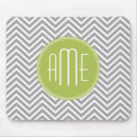 Grey and Lime Chevrons with Custom Monogram Mouse Mat