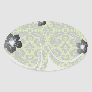 grey and lime ornate damask pattern stickers