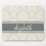 Grey and Linen Vintage Damask Pattern with Name