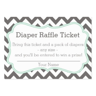 Grey and Mint Chevron Diaper Raffle Ticket Business Cards