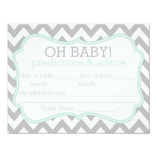 Grey and Mint Chevron Predictions & Advice Card 11 Cm X 14 Cm Invitation Card