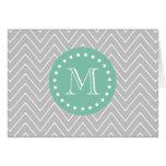Grey and Mint Green Modern Chevron Monogram Note Card