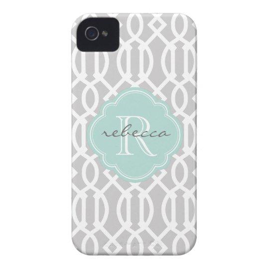 Grey and Mint Modern Trellis Custom Monogram iPhone 4 Case