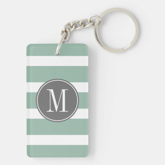 Grey and Mint Striped Pattern with Monogram Key Ring