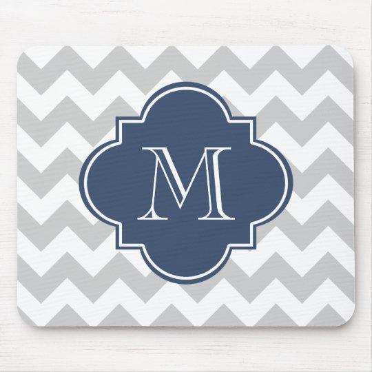 Grey and Navy Blue Modern Chevron Custom Monogram Mouse Mat