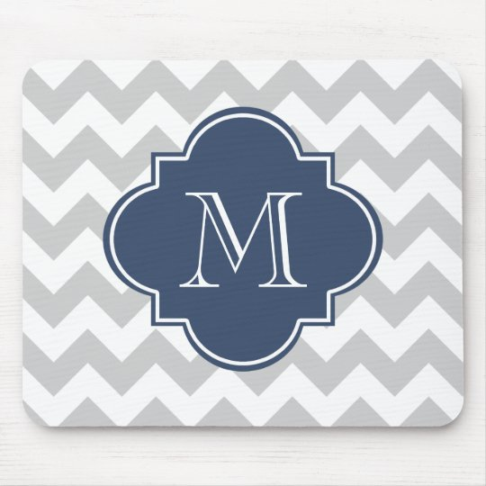 Grey and Navy Blue Modern Chevron Custom Monogram Mouse Pad