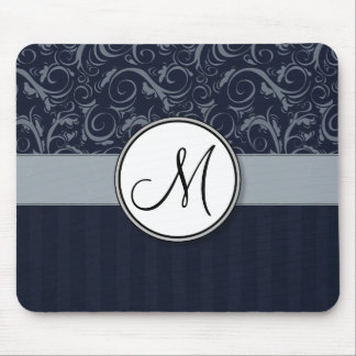 Grey and Navy Floral Wisps & Stripes with Monogram Mouse Mat