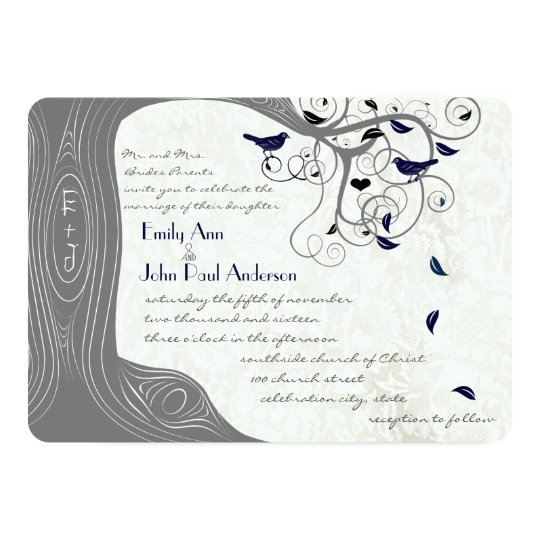 Grey and Navy Modern Tree Love Bird Wedding