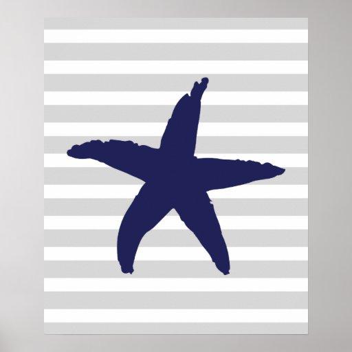Grey and Navy Striped Nautical Sea Star Print
