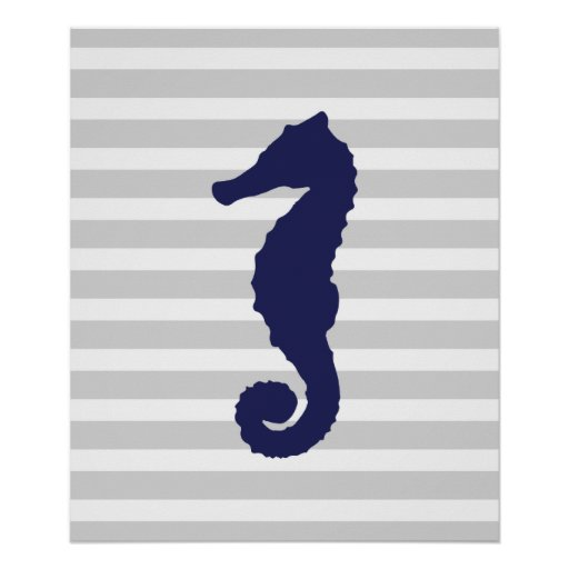 Grey and Navy Striped Nautical Seahorse Poster