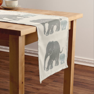 Grey and Olive Elephants on Ivory Beige Ground Short Table Runner