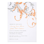 Grey and Orange Double Floral Wedding Invitation