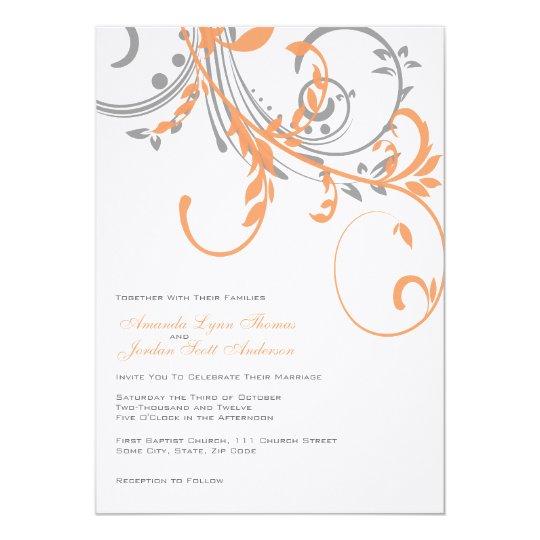 Grey and Orange Double Floral Wedding Invitation