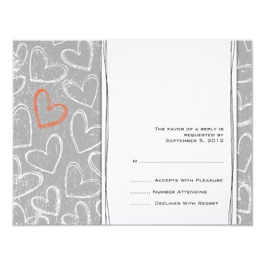 Grey and Orange Grunge Hearts Wedding RSVP Card