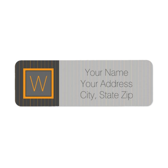 Grey and Orange Pinstripes Return Address Label
