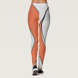 Grey and orange shapes leggings