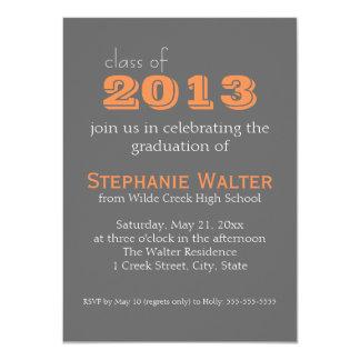 Grey and Orange | Text |  Graduation Invitation