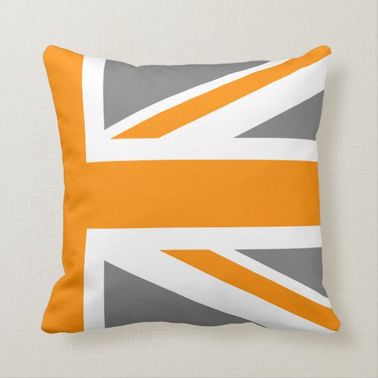Grey and Orange Union Jack Half Cushion