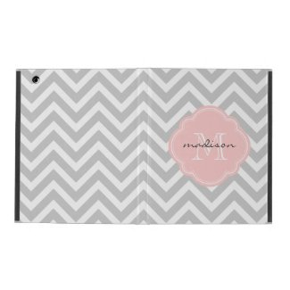 Grey and Pink Chevron Custom Monogram Cover For iPad Air