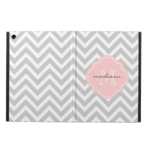 Grey and Pink Chevron Custom Monogram Cover For iPad Air