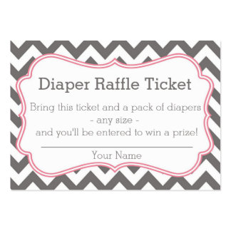 Grey and Pink Chevron Diaper Raffle Ticket Business Cards