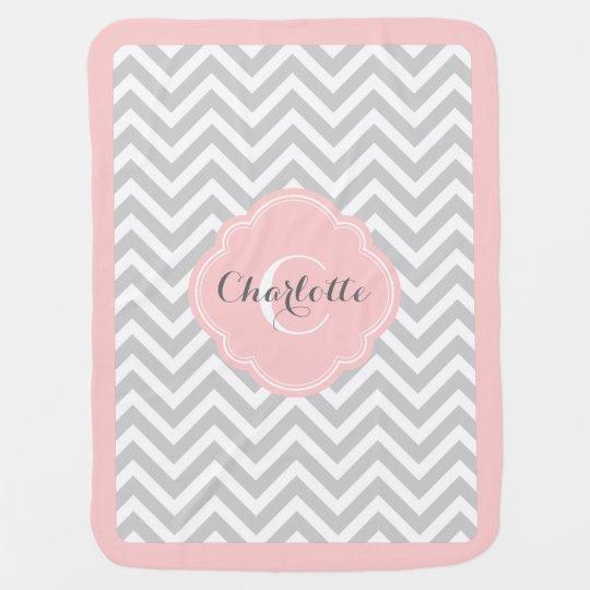 Grey and Pink Chevron Monogram Baby Blanket