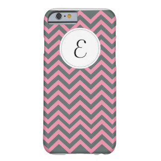Grey and Pink Chevron Pattern Monogram iPhone 6 ca Barely There iPhone 6 Case
